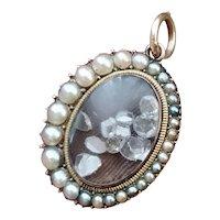 Antique Georgian Rose Cut Diamond Natural Split Pearl Shake Locket