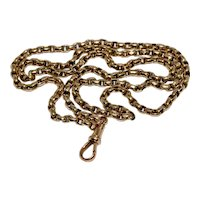 Antique Victorian 25 Inch 9K Gold Secret Link Chain Necklace