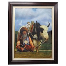 Native American original oil painting