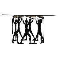 Mid century centerpiece Glass plate silhouetted figures