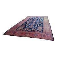 Persian Hand Knotted Sarouk Blue Wool Area Rug Oriental vintage