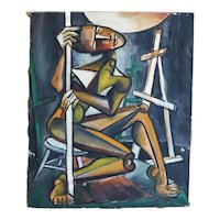 "Alvin M. Cohen Oil on Canvas ""The Model"""