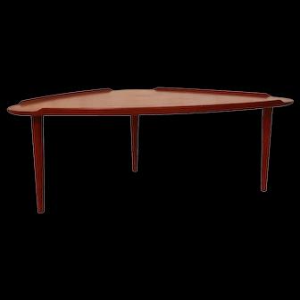 Aakjaer Jorgensen for Mobelintarsia Danish Modern Teak Triangular Coffee Table