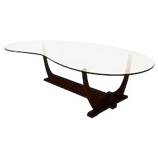 Adrian Pearsall Mid Century Modern Biomorphic Glass Top Walnut Coffee Table