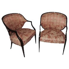 A pair of mahogany Federal style upholstered armchairs