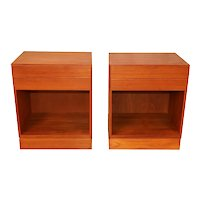 Arne Wahl Iversen Teak Danish Modern Nightstands End Side Tables pair