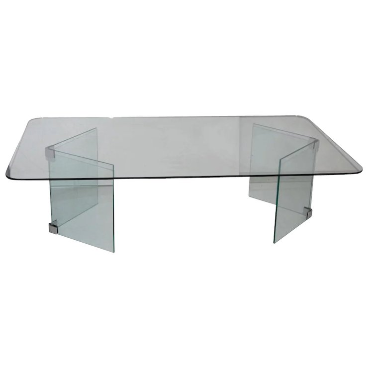Mid Century Modern Glass Coffee Table Hollywood Regency Pace