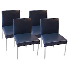 Brayton International Modern Leather Side Dining Chairs four