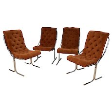 Daystrom Mid Century Chrome High Back Dining Velour Chairs