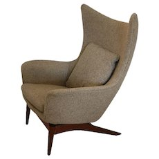 Danish Mid Century Modern HW Klein for Bramin Wing Lounge Chair