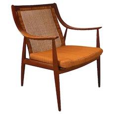 Danish Mid Century Peter Hvidt and Orla Mølgaard Nielsen For France & Daverkosen Danish Teak Cane Chair