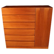 Danish Modern Teak Storage Gents Chest Dresser