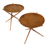 Danish Modern Nils Trautner teak folding tray side tables pair