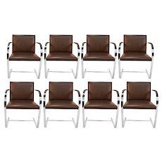 Eight Brueton Leather Bruno Flat Bar Chrome Armchairs Style of Mies Van Der Rohe