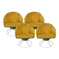 Four Vintage Mid Century Modern 1960s Homecrest Swivel Barrel Lounge Chairs Eames Era