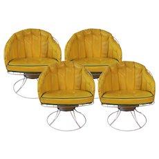 Four Vintage Mid Century Modern 1960s Homecrest Swivel Barrel Lounge Chairs Eames Era