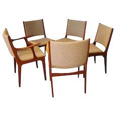 Five Mid Century Teak Dining Chairs