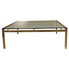 Mid Century Brass Glass Coffee Table
