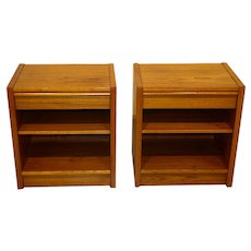 Mid Century Danish Modern Nightstands End Side Tables Pair