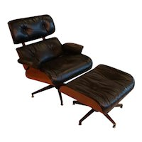 Mid Century Eames Style Swivel Lounge Chair and Ottoman