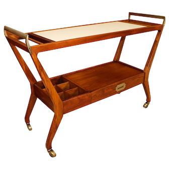 Mid Century Bar Serving Cart Baker Furniture Company