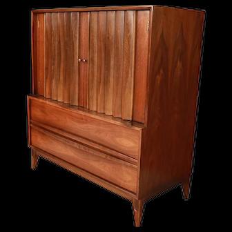 Mid Century High Boy Gentleman's Chest Dresser Louvered Front
