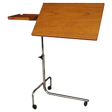 Mid Century HMN Danish Adjustable Teak Chrome Rolling Laptop Music Table