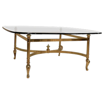 Mid Century Hollywood Regency La Barge Style Brass and Glass Coffee Table