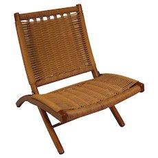 Mid Century Hans Wegner Style Woven Folding Chair