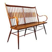 Mid Century Kipp Stewart for Drexel Declaration Walnut Spindle Back Bench