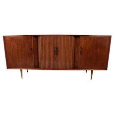 Mid Century Lighted Bar Tambour Door Long Credenza Sideboard Bar Cabinet