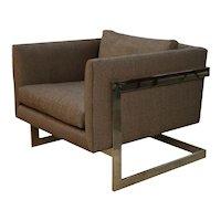 Mid Century Milo Baughman Thayer Coggin Chrome T Back Lounge Chair