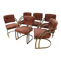Mid Century Milo Baughman Style Cantilever Brass Dining Side Chairs