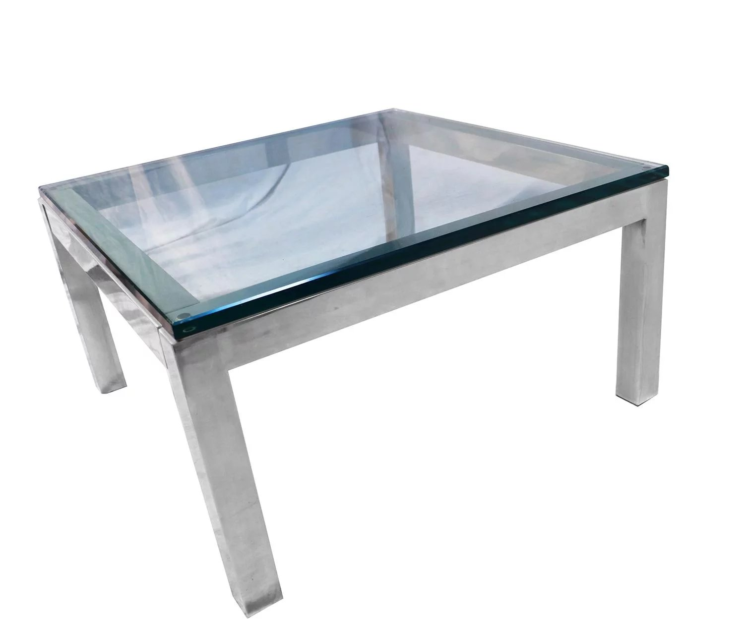 7da042eeec478 Mid Century Modern Chrome   Glass Coffee Table Milo Baughman Style. Click  to expand