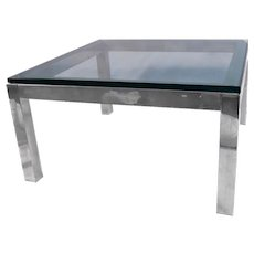 Mid Century Modern Chrome & Glass Coffee Table Milo Baughman Style