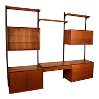 Mid Century Modern Danish Teak Floating Wall Unit with Vanity