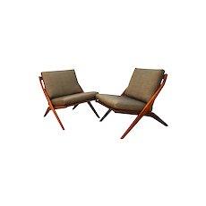 Mid Century Modern Folke Ohlsson Dux Scissor Lounge Chairs Pair