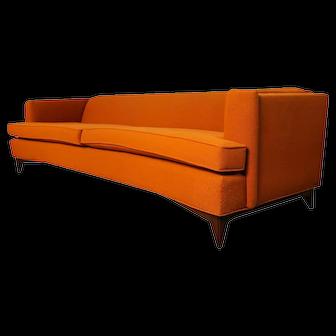 Mid Century Modern Orange Upholstered Sofa