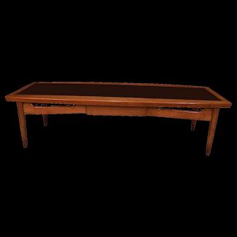Mid Century Modern Surfboard Coffee Table American of Martinsville Dania Collection Walnut Black Laminate