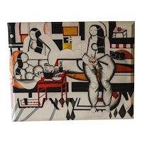 Mid Century Painting After Fernand Leger