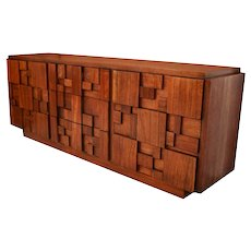 Mid Century Paul Evans Style Lane Brutalist Nine Drawer Dresser