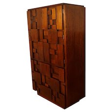 Mid Century Paul Evans Style Lane Brutalist High Boy Chest of Drawers
