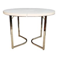 Mid Century Retro Laminate Circular Chrome Base Table