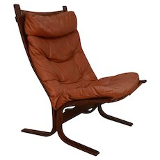 "Mid Century ""Siesta"" Leather Lounge Chair by Ingmar Relling For Westnofa"