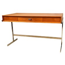 Mid Century Scandinavian Modern Teak Royal Board Trestle Base Desk