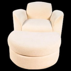 Mid Century Vladimir Kagan Style Swivel Chair and Ottoman