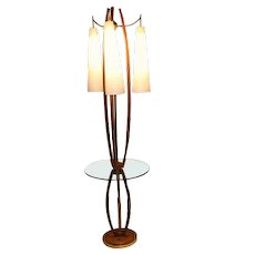 Mid Century Vintage Walnut Brass Floor Lamp Side Table