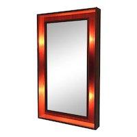 Modern Denmark Danish Teak Lighted Mirror By Pedersen & Hansen
