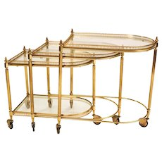 Neoclassical Hollywood Regency Brass Glass Nesting Tables