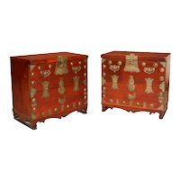 Pair Antique Korean Elm brass Chests